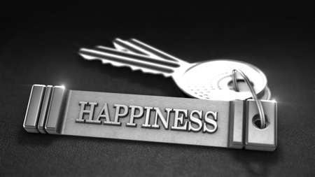 keyring: Happiness Concept. Keys with Keyring. 3D rendering