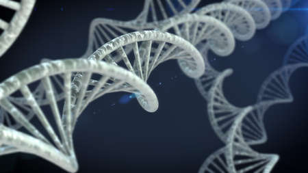 DNA molecules on the beautiful backdrop. 3D rendering Stock Photo