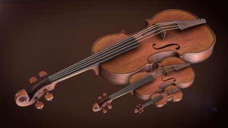 violins: Violins closeup 3D rendering