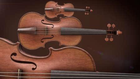 chiave di violino: Violini closeup Rendering 3D Archivio Fotografico
