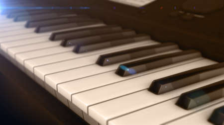 Piano keyboard background with selective focus 3D rendering Stock Photo