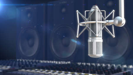 Closeup of microphone on blurred background Banque d'images