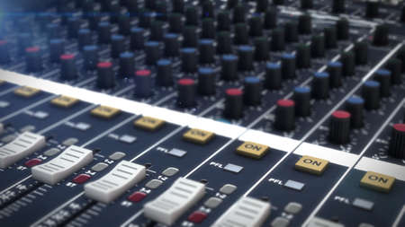 sound recording equipment: Detail of a music mixer desk with various knobs Stock Photo