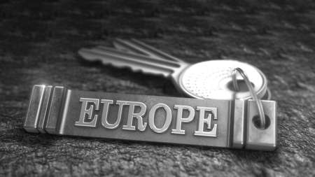 keyring: Key from Europe Concept. Keys with Keyring. 3D rendering