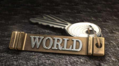keyring: Key from World Concept. Keys with Keyring. 3D rendering