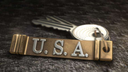 houston flag: Key from USA Concept. Keys with Keyring. 3D rendering Stock Photo