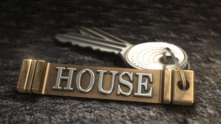 homecoming: Key from house Concept. Keys with Keyring. 3D rendering Stock Photo