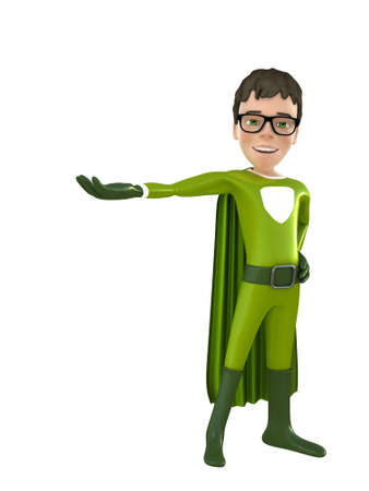outstretched: Little superhero with outstretched hand 3D render