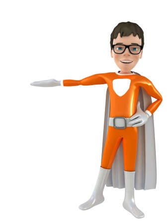 outstretched hand: Little superhero with outstretched hand 3D render
