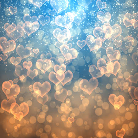 burnish: abstract background bokeh circles fnd hearts for Christmas background