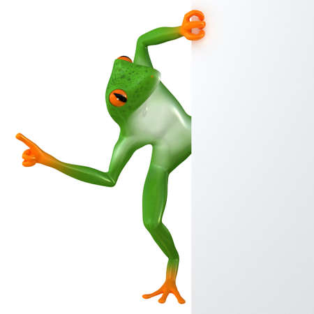 passion  ecology: The frog shows the template for the inscription, isolated on white background Stock Photo