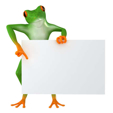 The frog shows the template for the inscription, isolated on white background Stock Photo
