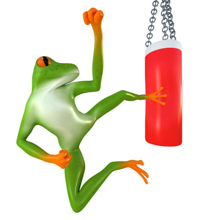 Tropical frog beats on a punching bag, isolated on white background