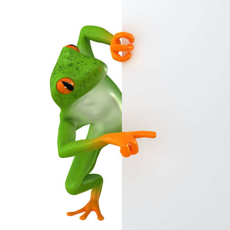 car business: The frog shows the template for the inscription, isolated on white background Stock Photo