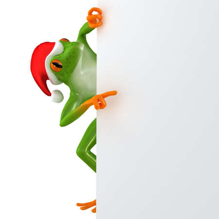christmas frog: Tropical Christmas frog features a blank template, isolated on white background Stock Photo