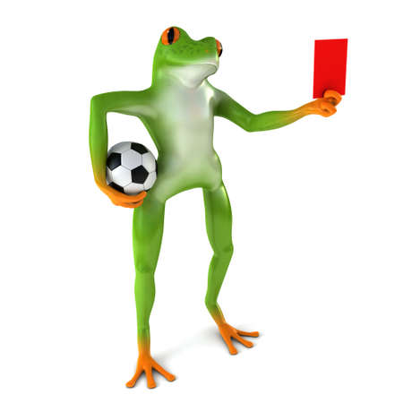 tropical frog: Tropical frog playing football, isolated on white background