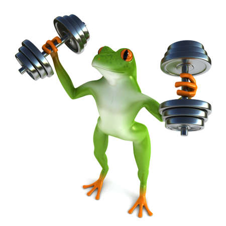 tropical frog: Tropical frog and dumbbells, isolated on white background