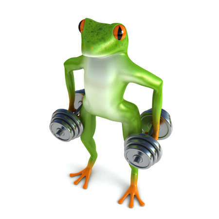 croaking: Tropical frog and dumbbells, isolated on white background