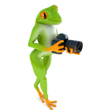 megapixel: Tropical frog posing with a camera, isolated on white background
