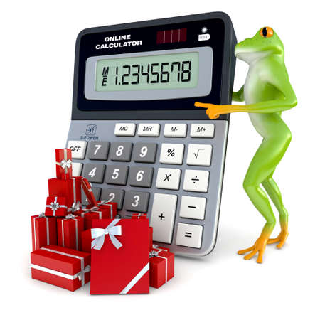 tropical frog: Tropical frog posing with a calculator, isolated on white background Stock Photo