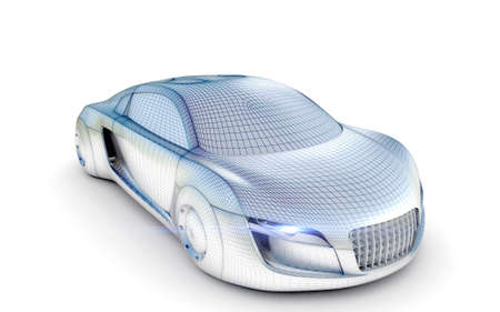 supercar: Car from the future isolated background 3D rendering
