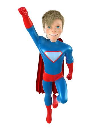 brave: 3d man - brave superhero . Isolated on white