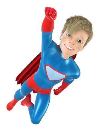 brave: 3d man - brave superhero. Isolated on white Stock Photo