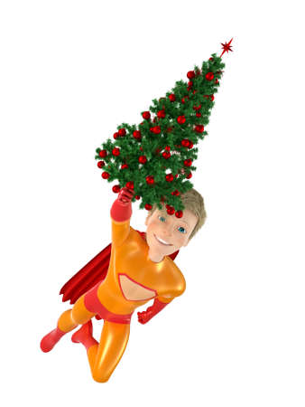 immortal: Brave superhero and Christmas tree. Isolated on white 3D Stock Photo