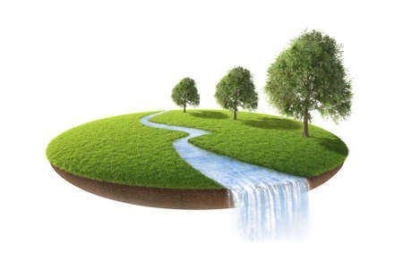 layers levels: 3d illustration of cross section of ground with grass isolated on white