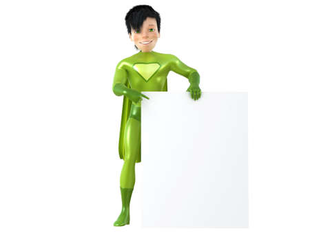 blank board: 3d man - brave superhero with blank board. Isolated on white