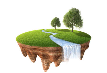 3d illustration of cross section of ground with grass isolated on white Reklamní fotografie - 49469794
