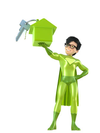cape: 3d man - brave superhero with house. Isolated on white Stock Photo