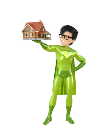 immortal: 3d man - brave superhero with house. Isolated on white Stock Photo