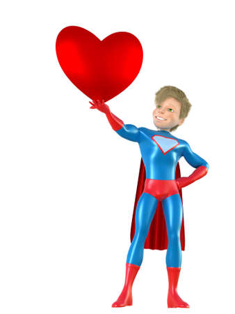brave: 3d man - brave superhero with heart. Isolated on white