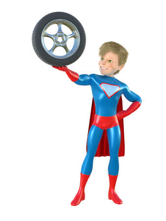 brave: 3d man - brave superhero with wheel. Isolated on white Stock Photo