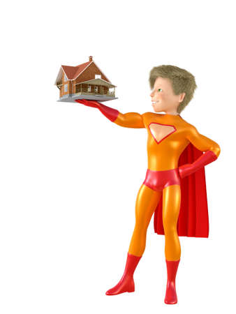 brave: 3d man - brave superhero with house. Isolated on white Stock Photo