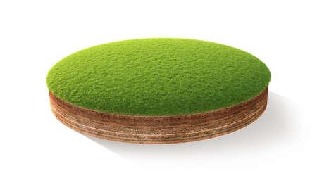 白で隔離草で地面の断面の 3 d イラストレーション