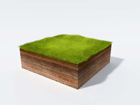 profile: 3d illustration of cross section of ground with grass isolated on white