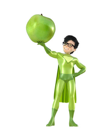 cartoon space: Little superhero and apple, isolated on white background Stock Photo