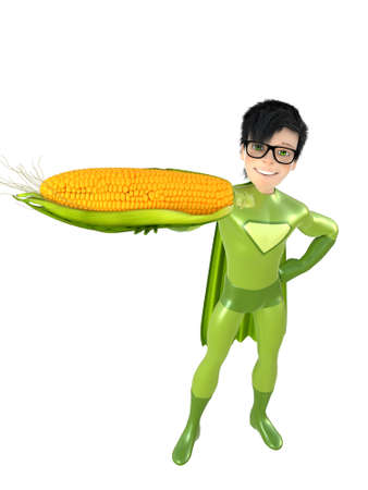 crime fighter: Little superhero and corn, isolated on white background Stock Photo