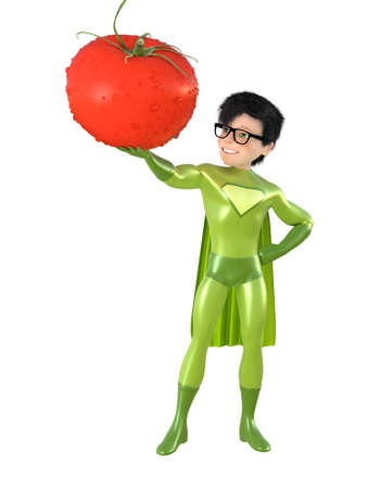 strawberry cartoon: Little superhero and tomato, isolated on white background