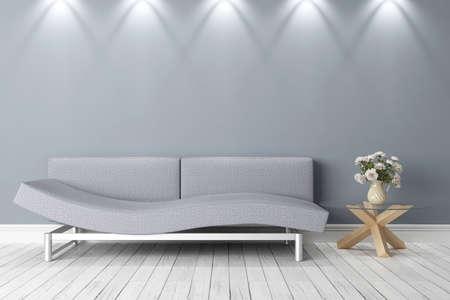 Heller Innenraum in einem modernen Stil. 3D übertragen