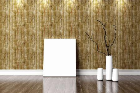 brick floor: Bright interior in a modern style . 3D render