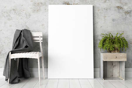 canvas art: Bright interior with frame in a modern style . 3D render Stock Photo