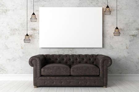 Interni luminosi con telaio in stile moderno. 3D render