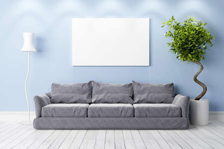 relaxation background: Bright interior in a modern style . 3D render