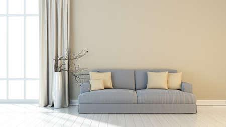 Bright interior in a modern style . 3D render Reklamní fotografie - 51453463