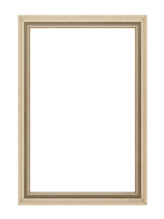Wooden frame isolated on white background 3D render