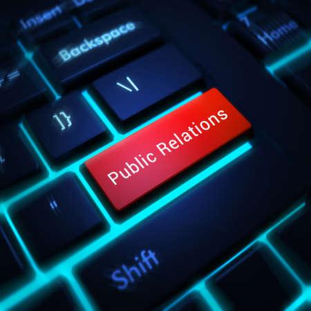 relaciones publicas: Teclado de ordenador con las palabras de Relaciones P�blicas en el fondo entra en el bot�n, 3d