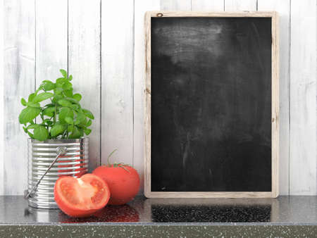 black board: Empty black chalkboard on composition wall as concept 3D render Stock Photo